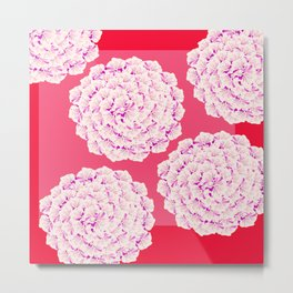 Large Flower Balls On Red Background #decor #society6 #buyart Metal Print