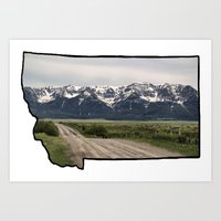 montana Art Prints featuring Montana by Justine O'Neil Photography