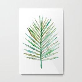 Watercolor Tropical Palm Leaf Metal Print