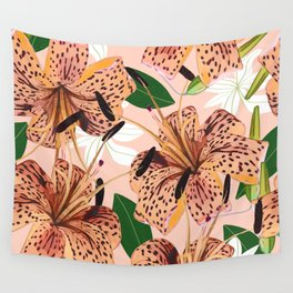 Tiger Lillies, Tropical Blush Botanical Illustration, Polka Dots Nature Vibrant Floral Jungle Wall Tapestry
