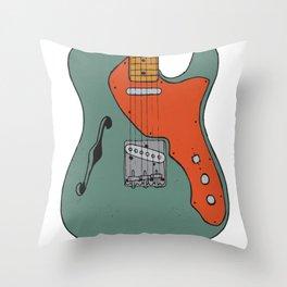 Vintage Electric Guitar Illustration Throw Pillow