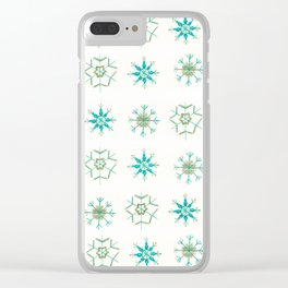Snowflakes Pattern #1 #drawing #mint #gold #decor #art #society6 Clear iPhone Case