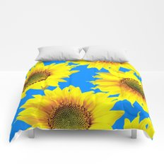 Sunny Sunflowers with blue sky - summer mood - #Society6 #buyart Comforters