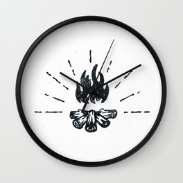 Campfire Black and White Flames Vintage Wall Clock