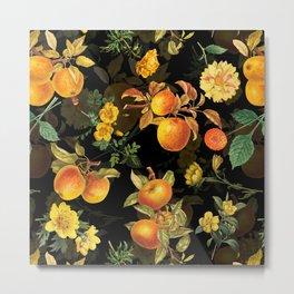 Vintage & Shabby Chic - Midnight Golden Apples Garden Metal Print