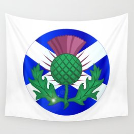 Scotish Flag And Thistle Button Wall Tapestry