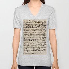 Johann Sebastian Bach (1685 – 1750) original music sheet Unisex V-Neck