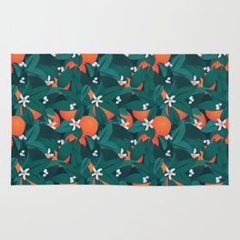 Summery Orange Blossoms Rug