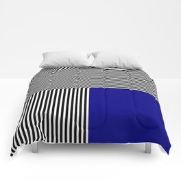 Geometric abstraction: black and white stripes, blue square Comforters