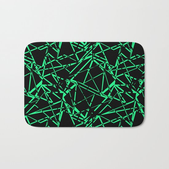 Abstract black and green pattern .Line . Bath Mat