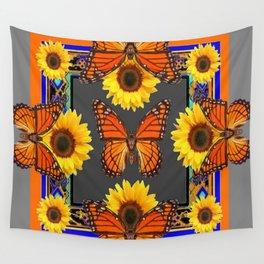 Western Grey & Orange Monarch Butterflies  sunflower Patterns Art For t Wall Tapestry