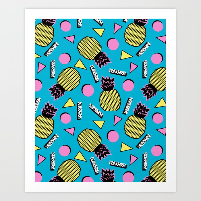 Primo - memphis retro throwback 1980s 80s neon style pop art wacka designs pineapple tropical fruit Art Print