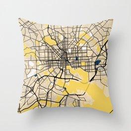 Baltimore Yellow City Map Throw Pillow