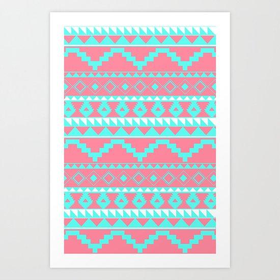 Aztec Pattern 2 Teal & Pink Art Print