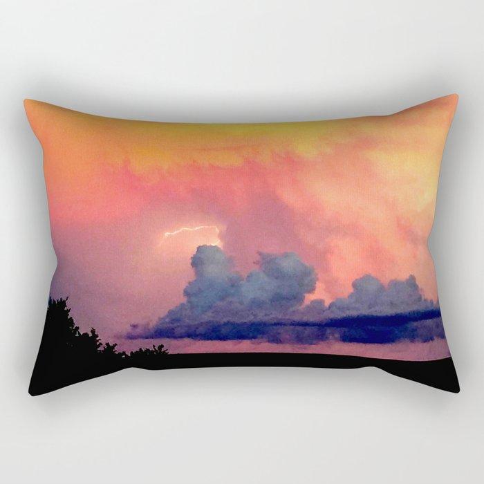 Lightning over Madison Rectangular Pillow