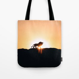 Lion Sunset Silhouette (Color) Tote Bag