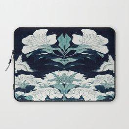 JAPANESE FLOWERS Midnight Blue Teal Laptop Sleeve