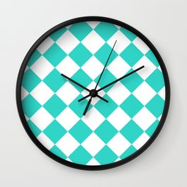 Large Diamonds - White and Turquoise Wall Clock