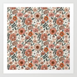 70s flowers - 70s, retro, spring, floral, florals, floral pattern, retro flowers, boho, hippie, earthy, muted Art Print