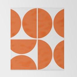 Mid Century Modern Orange Square Throw Blanket