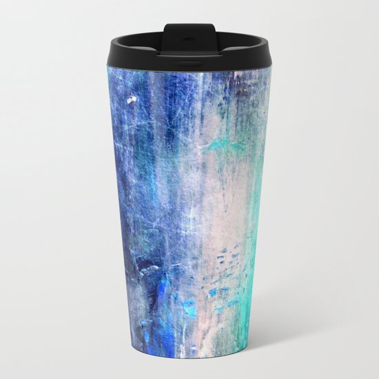 Winter Abstract Acrylic Textured Painting Metal Travel Mug
