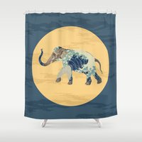 polka Shower Curtains featuring Elephant Polka by Paula Belle Flores