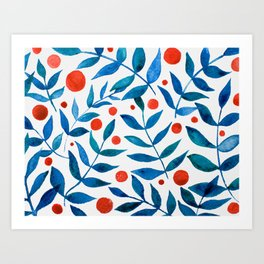 Watercolor berries and branches - blue and orange Art Print