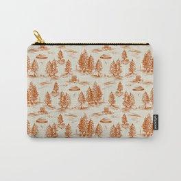 Orange Alien Abduction Toile De Jouy Pattern Carry-All Pouch