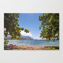 Empty chair on beach overlooking Hanalei Bay in Kauai, Hawaii Canvas Print