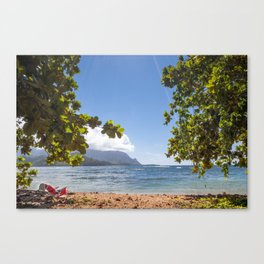 Empty chair on beach overlooking Hanalei Bay in Kauai, Hawaii Canvas Print