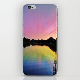 Pastel Rainbow Sunset Lake iPhone Skin