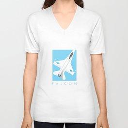 F-16 Falcon Fighter Jet Aircraft - Sky Unisex V-Neck