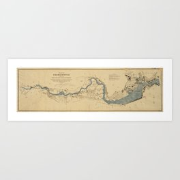 Vintage Map of The Charles River (1894) Art Print