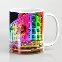 Clevelander Hotel Neon Lights, South Beach Miami Landscape Painting by Jeanpaul Ferro Coffee Mug