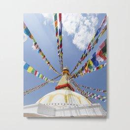 Tibetan prayer flags at Boudha stupa in Kathmandu, Nepal Metal Print
