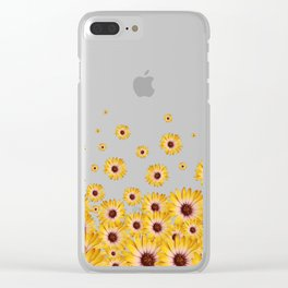 Falling Yellow Daisy Flowers Clear iPhone Case