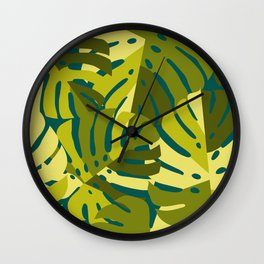 Monstera Leaves in Green Wall Clock