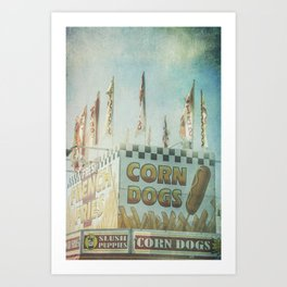Corn Dogs Carnival Fair Food Corn Dogs & Lemonade Foodie Art Art Print