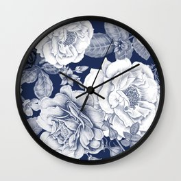 BLUE NATURE - FLOWERS Wall Clock
