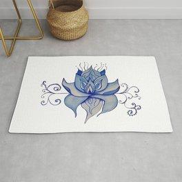 Watercolor Blue Lotus Rug