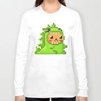 8bit Long Sleeve T-shirts featuring 8bit Dinobear by Bear Picnic