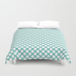 Polka dots - turquoise and white Duvet Cover