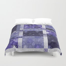 Lotus flower blue stitched patchwork - woodblock print style pattern Duvet Cover