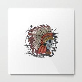 Skull Apache American Indian Head Tattoo Artwork With Editable Layers Metal Print
