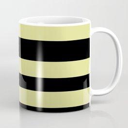 VA Lime Green - Lime Mousse - Bright Cactus Green - Celery Hand Drawn Fat Horizontal Lines on Black Coffee Mug
