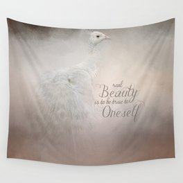 Real Beauty is to be True To Oneself White Peacock Wall Tapestry
