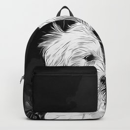 maltese dog vector art black white Backpack