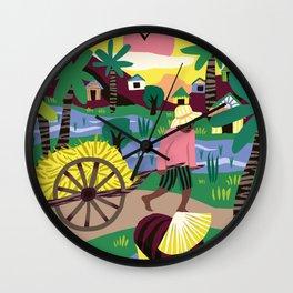 Ricefields Cambodia Wall Clock