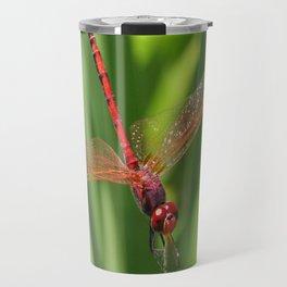 Red Skimmer or Firecracker Dragonfly Closeup Travel Mug