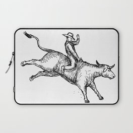 Bull Riding Rodeo Cowboy Drawing Laptop Sleeve